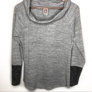 Avalanche gray cowl neck long sleeve size large